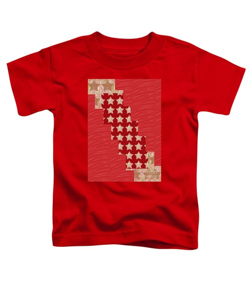 Cross Through Sparkle Stars On Red Silken Base Toddler T-Shirt by Navin Joshi