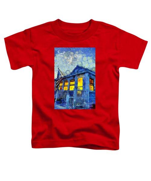 Lazy Daze Beach Cottage On Fourth Of July Toddler T-Shirt
