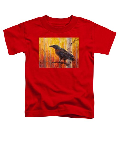 Raven Glow Autumn Forest Of Golden Leaves Toddler T-Shirt