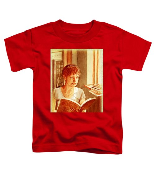 Toddler T-Shirt featuring the painting Reading A Book Vintage Style by Irina Sztukowski