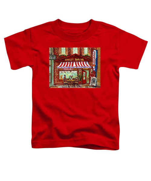 Rotisserie Le Chalet Bbq Restaurant Paintings Storefronts Street Scenes Diners Montreal Art Cspandau Toddler T-Shirt