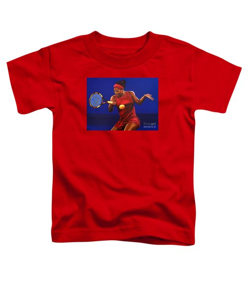Serena Williams Painting Toddler T-Shirt by Paul Meijering