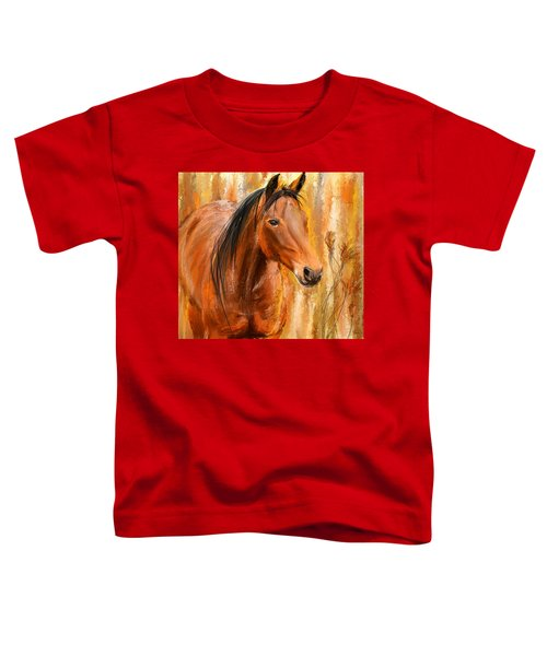 Standing Regally- Bay Horse Paintings Toddler T-Shirt