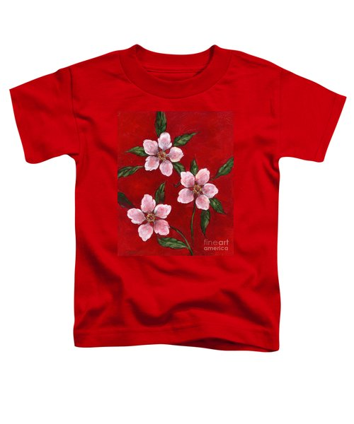 Three Blossoms On Red Toddler T-Shirt