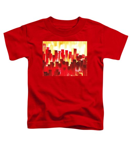 Toddler T-Shirt featuring the painting Urban Abstract Red City Lights by Irina Sztukowski