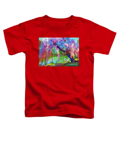 Weeping Beauty, Cherry Blossom Tree And Heron Toddler T-Shirt