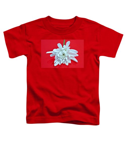 White Flower On Bright Red Background Toddler T-Shirt