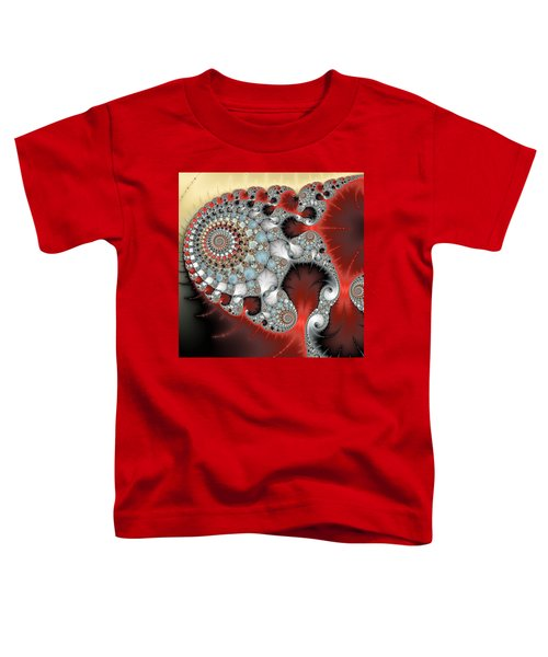 Wonderful Abstract Fractal Spirals Red Grey Yellow And Light Blue Toddler T-Shirt by Matthias Hauser