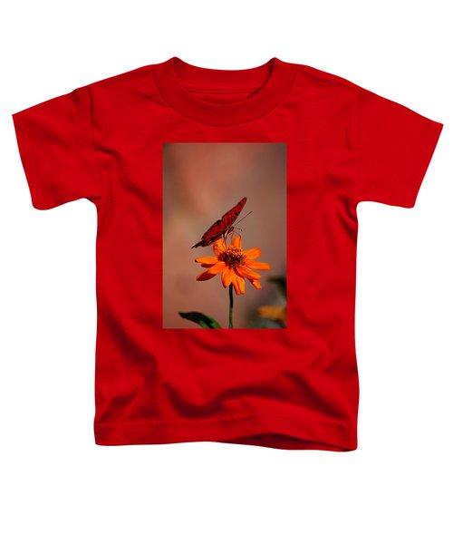 Orange Butterfly Orange Flower Toddler T-Shirt