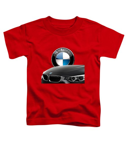 Black B M W - Front Grill Ornament And 3 D Badge On Red Toddler T-Shirt
