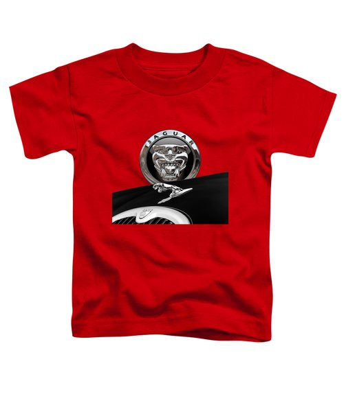 Black Jaguar - Hood Ornaments And 3 D Badge On Red Toddler T-Shirt by Serge Averbukh