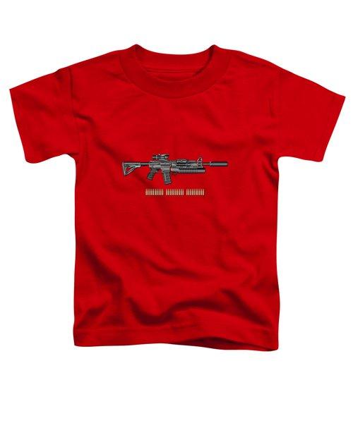 Colt  M 4 A 1  S O P M O D Carbine With 5.56 N A T O Rounds On Red Velvet  Toddler T-Shirt by Serge Averbukh