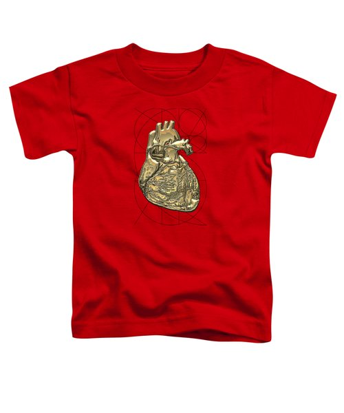 Heart Of Gold - Golden Human Heart On Red Canvas Toddler T-Shirt by Serge Averbukh