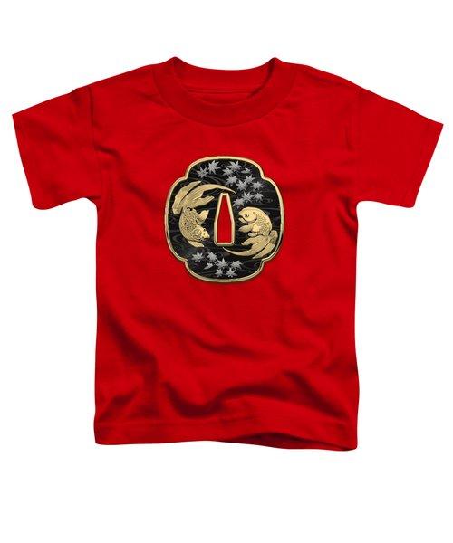 Japanese Katana Tsuba - Twin Gold Fish On Black Steel Over Red Velvet Toddler T-Shirt