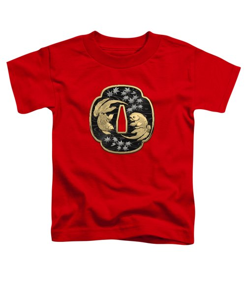 Japanese Katana Tsuba - Twin Gold Fish On Black Steel Over Red Velvet Toddler T-Shirt