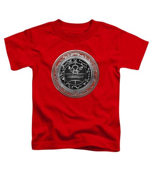 Silver Seal Of Solomon - Lesser Key Of Solomon On Red Velvet  Toddler T-Shirt