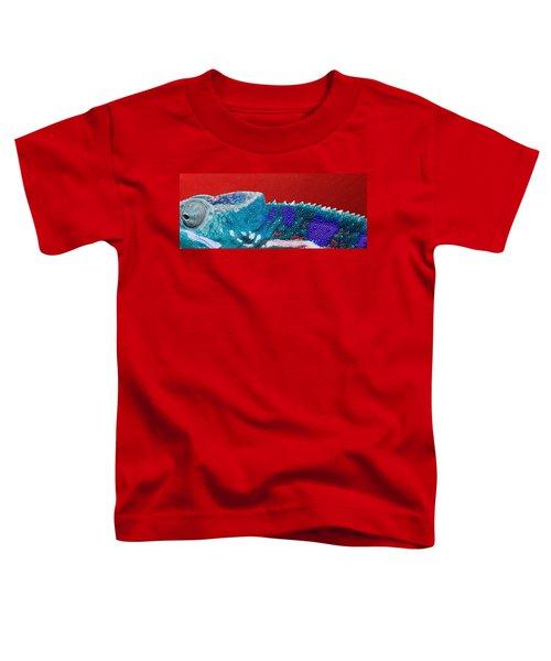 Turquoise Chameleon On Red Toddler T-Shirt
