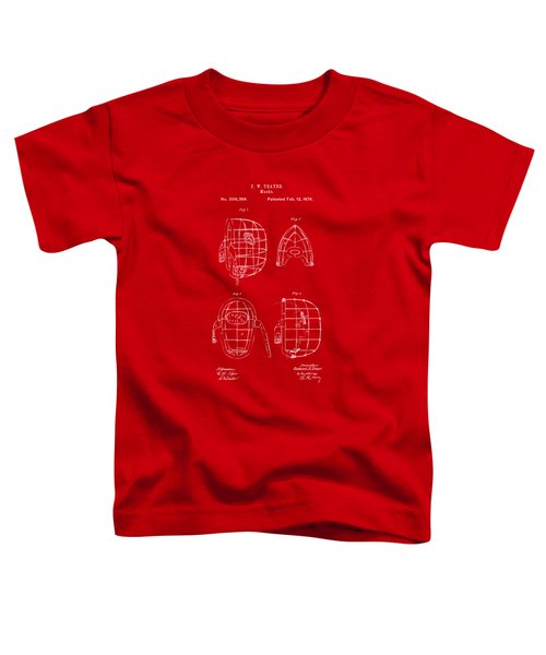 1878 Baseball Catchers Mask Patent - Red Toddler T-Shirt by Nikki Marie Smith