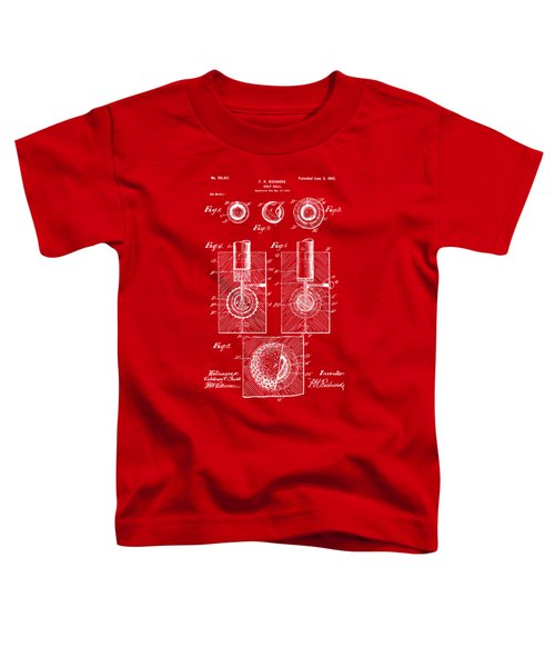 1902 Golf Ball Patent Artwork Red Toddler T-Shirt