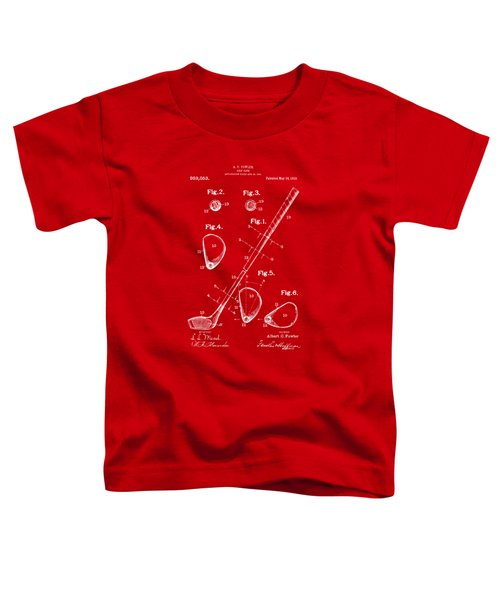 1910 Golf Club Patent Artwork Red Toddler T-Shirt by Nikki Marie Smith
