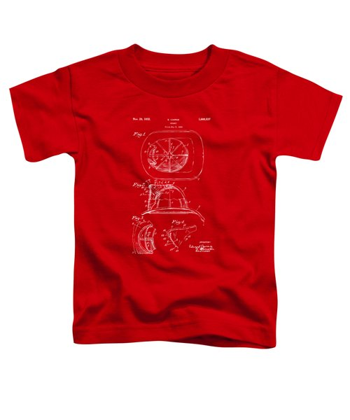 1932 Fireman Helmet Artwork Red Toddler T-Shirt by Nikki Marie Smith