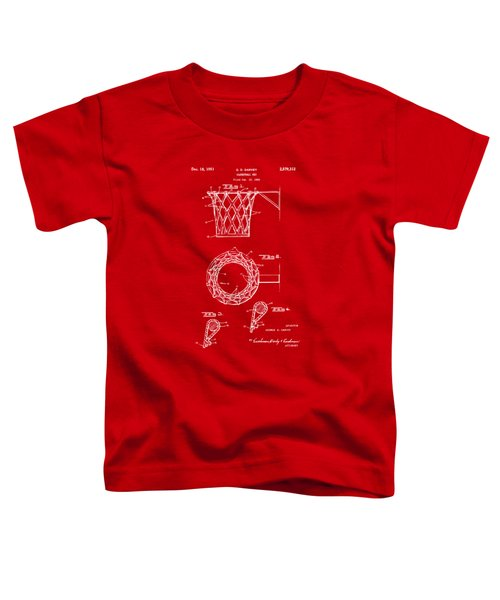 1951 Basketball Net Patent Artwork - Red Toddler T-Shirt by Nikki Marie Smith