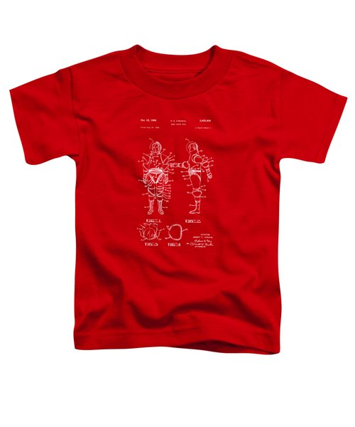 1968 Hard Space Suit Patent Artwork - Red Toddler T-Shirt by Nikki Marie Smith