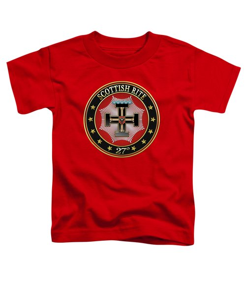 27th Degree - Knight Of The Sun Or Prince Adept Jewel On Red Leather Toddler T-Shirt