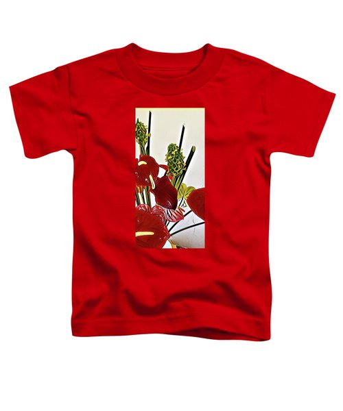 Aloha Bouquet Of The Day - Anthuriums In Darkl Red With Green Ginger - A Portion Toddler T-Shirt