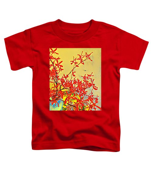 Aloha Bouquet Of The Day -- Red Orchids In Blue Vse Toddler T-Shirt