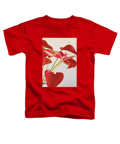 Anthurium Fragments In Red Toddler T-Shirt