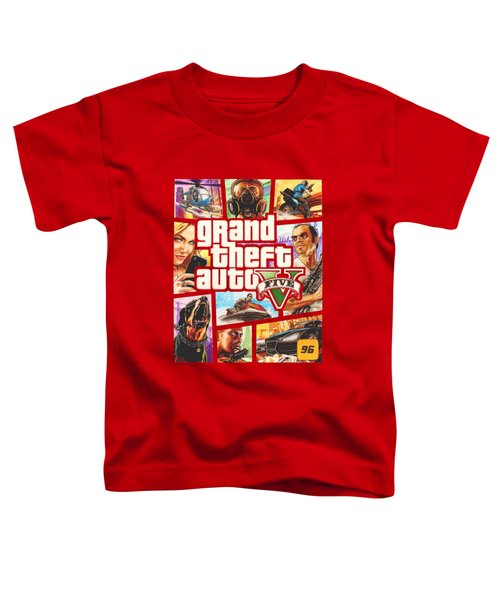 Gta V Box Art Cover Colored Drawing Toddler T-Shirt