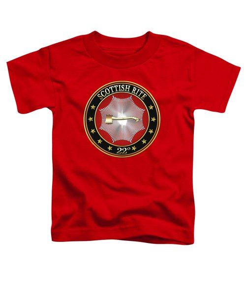 22nd Degree - Knight Of The Royal Axe Jewel On Red Leather Toddler T-Shirt by Serge Averbukh