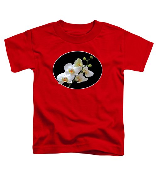 Orchids On Black And Red Toddler T-Shirt by Gill Billington
