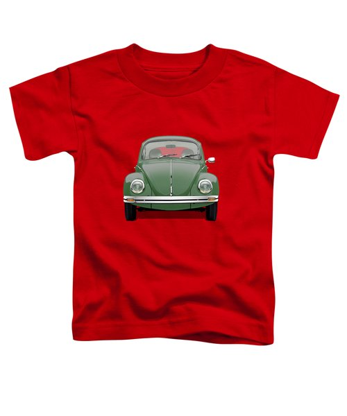 Volkswagen Type 1 - Green Volkswagen Beetle On Red Canvas Toddler T-Shirt