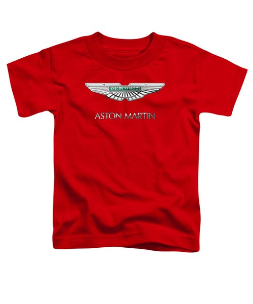 Aston Martin - 3 D Badge On Red Toddler T-Shirt by Serge Averbukh