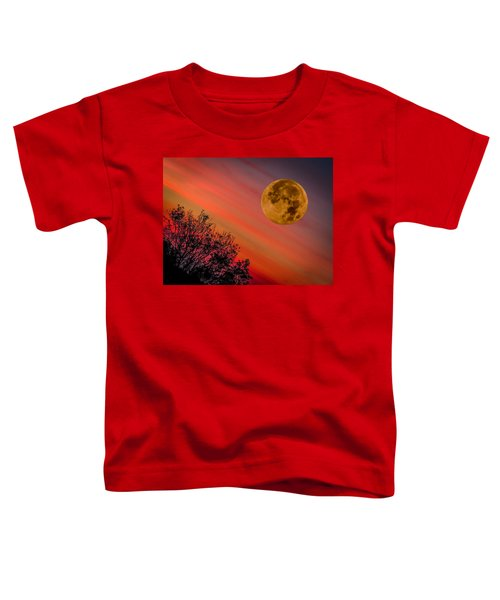 Toddler T-Shirt featuring the photograph Autumn Super Moon And Irish Sunrise by James Truett
