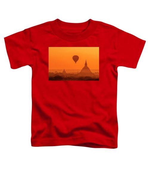 Bagan Pagodas And Hot Air Balloon Toddler T-Shirt