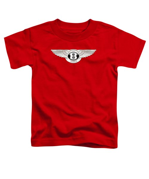 Bentley 3 D Badge On Red Toddler T-Shirt by Serge Averbukh