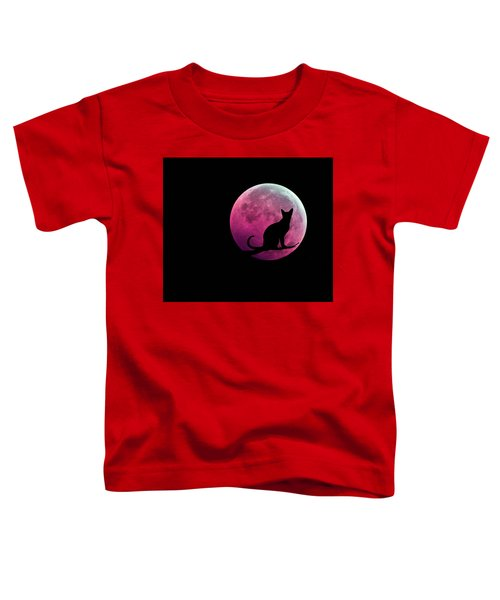 Black Cat And Pink Full Moon Toddler T-Shirt