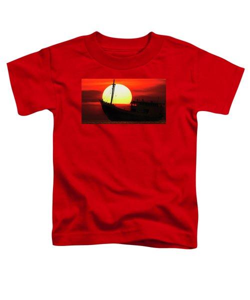 Boatman Enjoying Sunset Toddler T-Shirt