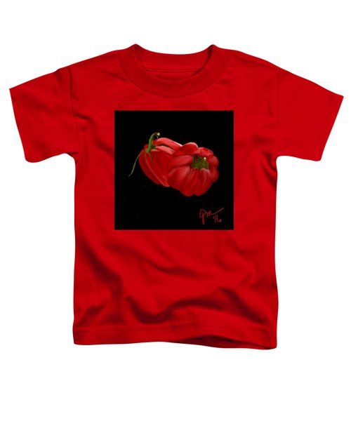 Toddler T-Shirt featuring the digital art Bright Red Peppers by Gerry Morgan
