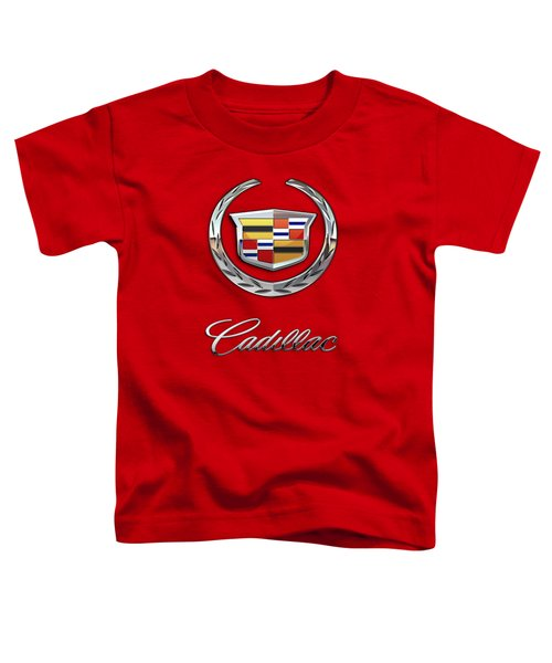 Cadillac - 3 D Badge On Red Toddler T-Shirt by Serge Averbukh