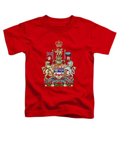 Canada Coat Of Arms Over Red Silk Toddler T-Shirt