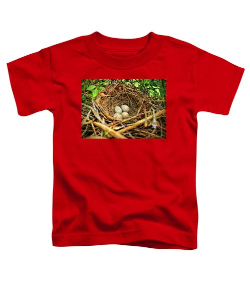 Brown Thrasher Nest And Eggs Toddler T-Shirt by Bellesouth Studio