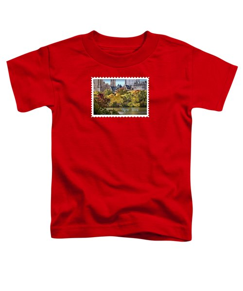 Central Park Lake In Fall Text New York Toddler T-Shirt by Elaine Plesser