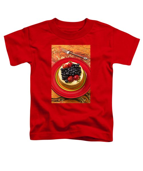 Cheesecake On Red Plate Toddler T-Shirt by Garry Gay