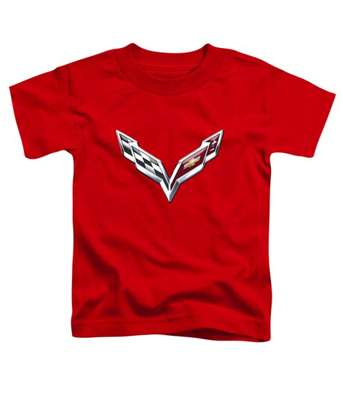 Chevrolet Corvette - 3d Badge On Red Toddler T-Shirt by Serge Averbukh