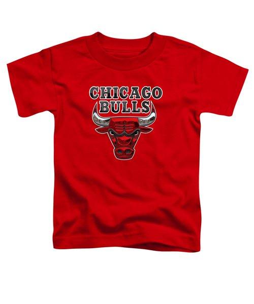 Chicago Bulls - 3 D Badge Over Flag Toddler T-Shirt by Serge Averbukh