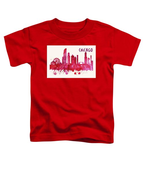 Chicago Skyline Watercolor Poster - Cityscape Painting Artwork Toddler T-Shirt